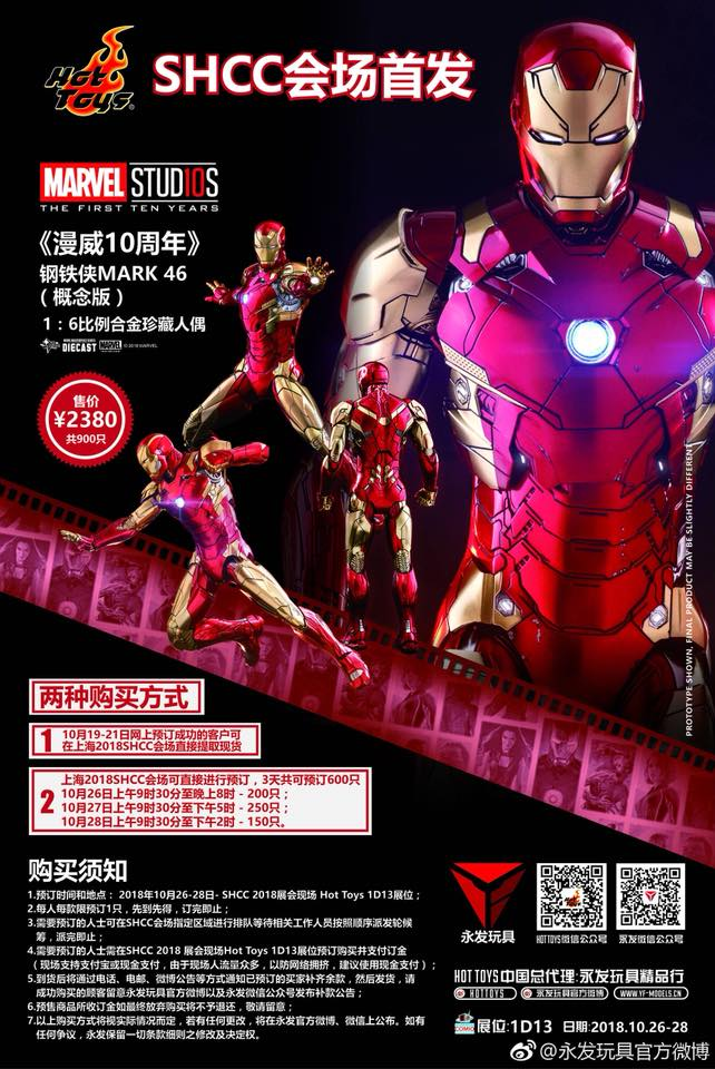 Hot toys Iron Man Mark XLVI ครบรอบ 10 ปี Marvel Studios